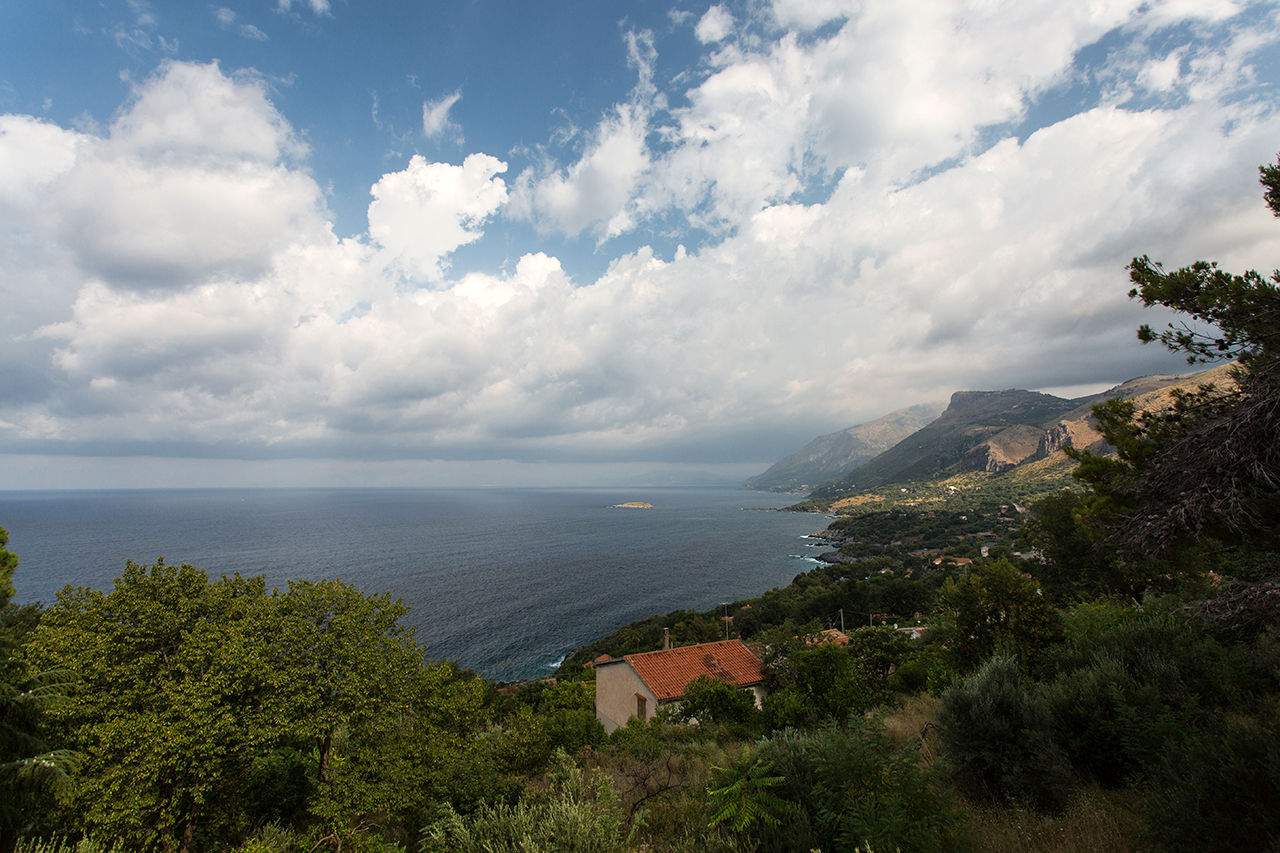 marina di maratea with clouds