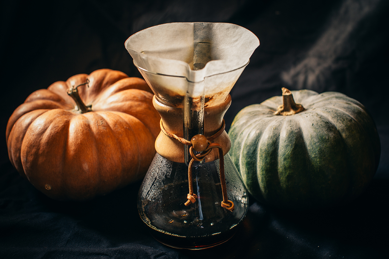 chemex specialty coffee with pumpkins